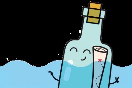 אנימציה של מכתב בבקבוק בים